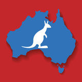 Australia related image. Territory outline with kangaroo silhouette in center australia related image  illustration design Royalty Free Stock Images