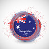 Australia remembrance day ink flag illustration Royalty Free Stock Image