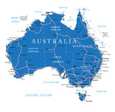 Australia road map. Highly detailed vector map of Australia with administrative regions, main cities and roads stock illustration