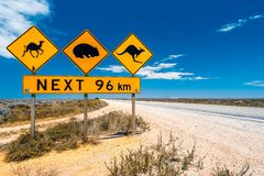 Australia road signs. Start of the Nullabor drive in South Australia royalty free stock photography