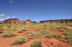 Australia,  Rainbow Valley. Australia, rock formation, shelter and information point in Rainbow valley national park in Northern Territory Stock Image