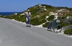 Australia, Rottnest Island, cyclist Royalty Free Stock Image