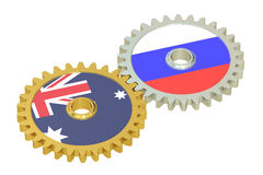 Australia and Russia flags on a gears, 3D rendering Royalty Free Stock Image