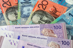 Australia's dollars and Malaysia's ringgit currency Stock Image