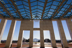 Australia's Parliament House. Shadows at the entrance to Australia's Parliament House - Canberra Royalty Free Stock Photography