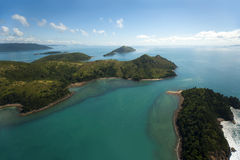 Australia's Whitsunday Islands. Dramatic Helicopter view of the Whitsunday Islands and surrounding seas in Queensland, Australia Stock Images