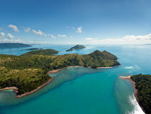 Australia's Whitsunday Islands. Dramatic Helicopter view of the Whitsunday Islands and surrounding seas in Queensland, Australia Stock Photography