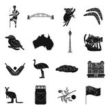 Australia set icons in black style. Big collection of Australia vector symbol stock illustration Royalty Free Stock Images