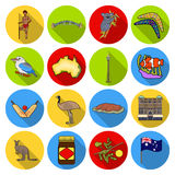 Australia set icons in flat style. Big collection of Australia vector symbol stock illustration Royalty Free Stock Images