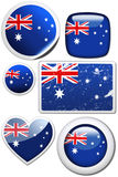 Australia - Set of stickers and buttons. Glossy and colorful stickers with reflection set Royalty Free Stock Image