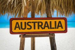 Australia sign with beach background Stock Image