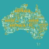 Australia text silhouette. Australia silhouette text oz map typography Stock Photos