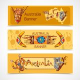 Australia sketch banners horizontal. Australia native aboriginal tribal ethnic colored sketch horizontal banner set isolated vector illustration Royalty Free Stock Images