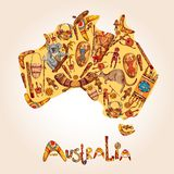 Australia sketch colored background. Australia native aboriginal tribal ethnic colored sketch symbols in australian continent shape vector illustration Royalty Free Stock Image