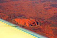 Australia from the sky. Uluru (ayers rock) and the red center from the sky royalty free stock image