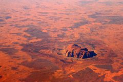 Australia from the sky. Uluru (ayers rock) and the red center from the sky Stock Images
