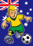 Australia soccer player with flag background Stock Images