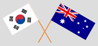 Australia and South Korea. The Australian and Korean flags. Official colors. Correct proportion. Vector. Illustrationn vector illustration