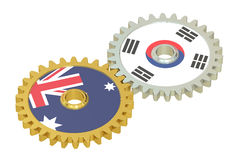 Australia and South Korea flags on a gears, 3D rendering Royalty Free Stock Photos