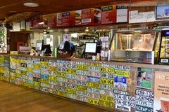 Australia, South Australia, roadhouse. Pimba, SA, Australia - November 12, 2017: inside Spud`s roadhouse with lot of license plates, preferred stop for food and stock photo