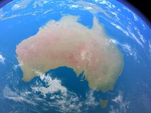 Australia from Space. A rendered 3d scene showing Australia as seen from space Royalty Free Stock Photo