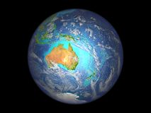 Australia from space. Australia on planet Earth from space. 3D illustration isolated on white background. Elements of this image furnished by NASA stock illustration