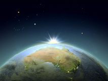 Australia from space in sunrise Stock Photo