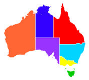 Australia stany W Colour sylwetce ilustracja wektor