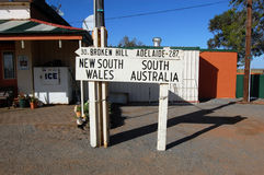 Australia state border road sign. Between New South Wales and South Australia Royalty Free Stock Image