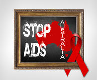 Australia STOP AIDS World Aids Day concept with red ribbon Stock Photos