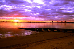 Australia Sunset Melbourne. Sun setting over the ocean at St Kilda, Melbourne, Australia Stock Photo