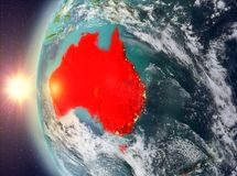 Australia during sunset from space. Australia as seen from space on planet Earth during sunset. 3D illustration. Elements of this image furnished by NASA Royalty Free Stock Photo