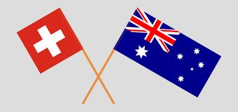 Australia and Switzerland. The Australian and Swiss flags. Official colors. Correct proportion. Vector. Illustrationn royalty free illustration