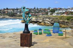 Australia, Sydney, Artwork. Sydney, NSW, Australia - October 31,2017: Sculpture by the sea - an outdoor exhibtion along the coast at Bondi, Song of the Aisors Stock Image