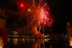 Australia Sydney Darling Harbour Night Fireworks. Australia Sydney Darling Harbour Night royalty free stock photo