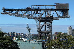 Australia, Sydney. Heavy crane and war ship in Wooloomooloo wharf Royalty Free Stock Image