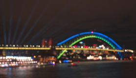 Australia-Sydney: June 07,2017. Blurred bokeh Sydney Harbour Bri stock images
