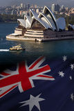 Australia - Sydney Opera House. The flag of Australia and the Sydney Opera House in the city of Sydney in Australia stock images
