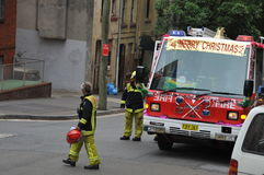 Australia. Sydney. Sea Coast Australia. Sydney,Fire Brigade in the New Year holidays, 2009 Royalty Free Stock Images