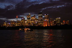Australia Sydney Skyline Night. View Stock Photo