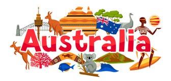Australia sztandaru projekt Australijscy tradycyjni symbole i przedmioty ilustracji