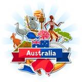 Australia tła projekt Australijscy tradycyjni majcherów symbole, przedmioty i royalty ilustracja