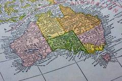 Australia with Tasmania map. Vintage map (1926) of Australia with focus on Tasmania Island Royalty Free Stock Images