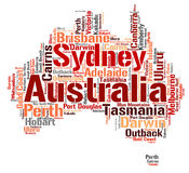 Australia top travel destinations word cloud. Australia Map silhouette word cloud with most popular travel destinations stock illustration