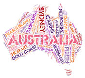 Australia top travel destinations word cloud Royalty Free Stock Photos