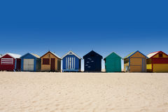 Australia tour to Brighton Beach bathing boxes Royalty Free Stock Photos