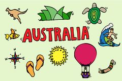 Australia tourism nature and culture icons set Royalty Free Stock Image
