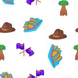 Australia tourism pattern, cartoon style. Australia tourism pattern. Cartoon illustration of Australia tourism vector pattern for web design Royalty Free Stock Photo