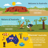 Australia travel banner horizontal set, flat style Royalty Free Stock Images