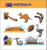 Australia travel destination poster with country symbols set Stock Photo